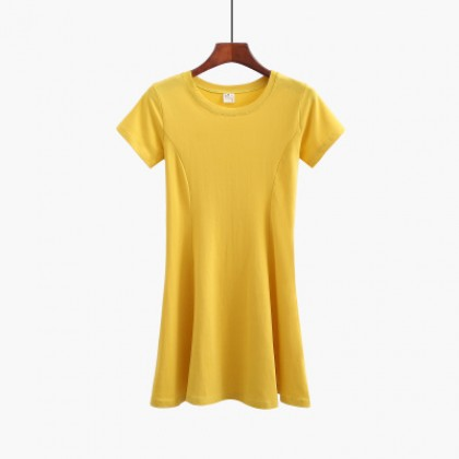 Women Korean Fashion Trend Cotton Short Sleeve Dress