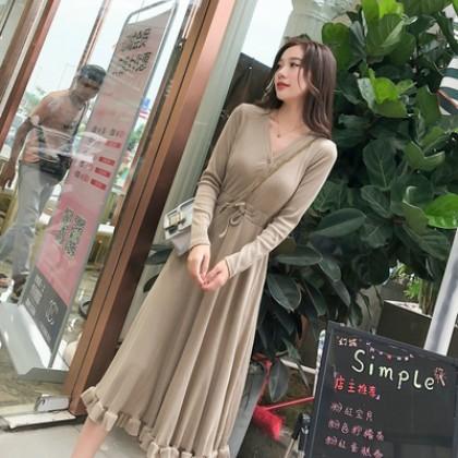 Women Korean Fashion Trend Long Sleeve Casual French Dress