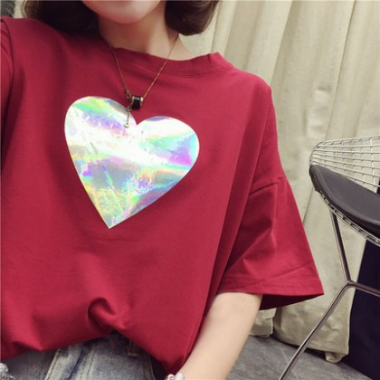 Women Korean Fashion Trend  Big Heart Loose Top