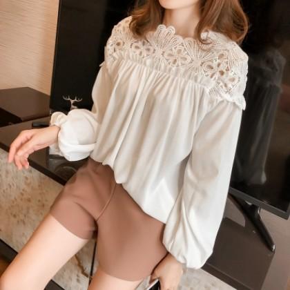 Women Korean Fashion Trend Collar Lace Loose Long Sleeve Chiffon Top