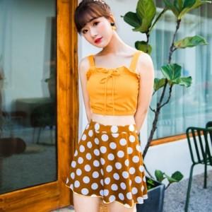 Women Korean Fashion Trend 2 Piece Skirt Type Polka Dots Swimwear