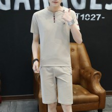 Men Korean Fashion Trend Slim Fit Cotton Shirt and Casual Short Set