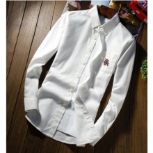 Men Korean Fashion Trend Slim Fit Cotton Casual Long Sleeve Shirt
