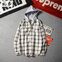 Men Korean Fashion Trend Long Sleeve Thin Plaid Hooded Shirt