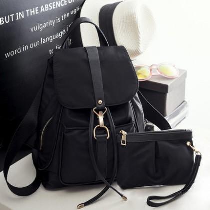 Women Korean Trend Large Capacity Black Oxford Shoulder and Back pack