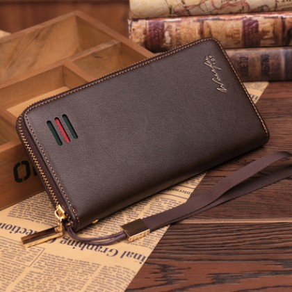 Men's Korean Fashion Long Multi Function And Multi Card Leather Wallet
