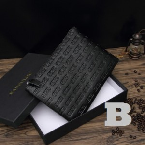 Men's Korean Fashion Black Casual Leather Clutch and Handbag