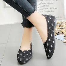 Women Korean Fashion Trend Denim Wild Holes Casual Flat Shoes