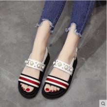 Women Korean Fashion Trend Muffin Bottom Beaded Roman Sandals