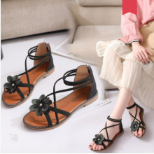 Women Korean Fashion Trend Flower Roman Style Flat Sandals