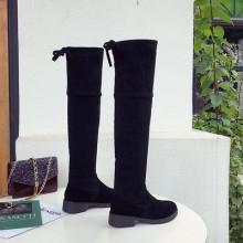 Women Korean Fashion  Wild Style Knee High Velvet elastic Boots