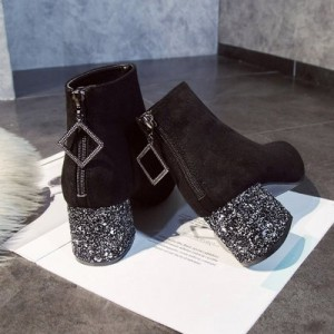 Women Korean Fashion  Wild Rhinestone Thick Heel Velvet Martin Boots