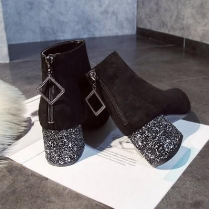 Women Korean Fashion  Wild Rhinestone Thick Heel Velvet Martin Boots