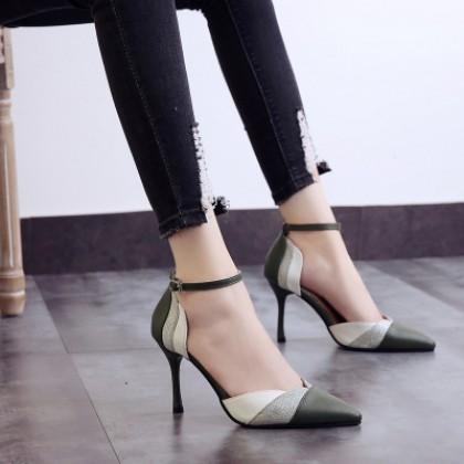 Women Korean Fashion Baotou Style Pointed Sexy  High Heeled Shoes