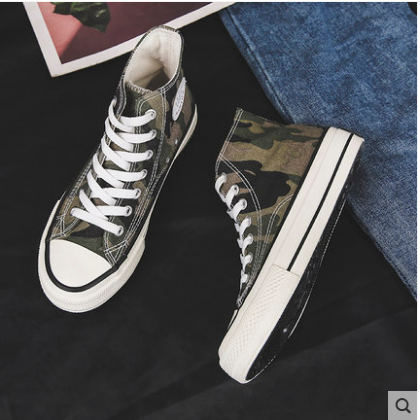 Men's Korean New Trend High top Camouflage Canvas Sneakers