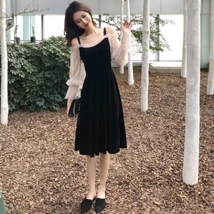 Women Korean Trend Sling Style  Sexy Suspender Velvet Dress