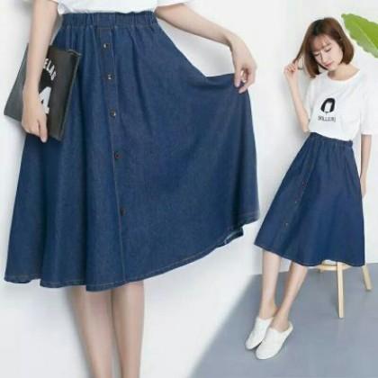 Women Korean Fashion  High Waist Loose Blue Denim Skirt