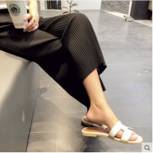 Women Korean Fashion  High Waist Ice Silk Pleated Loose Leg Pants