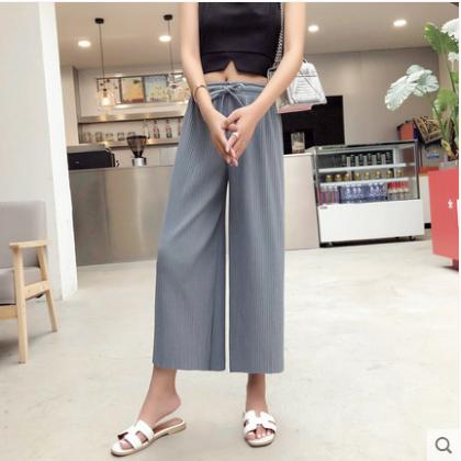 Women Korean Fashion  High Waist Ice Silk Pleated Loose Leg Pants