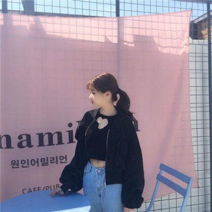 Women Korean Fashion Harajuku Style  Loose Baseball Jacket