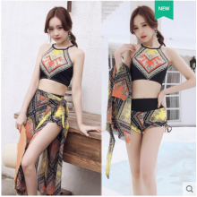 Women Korean Fashion Retro Print Apron Sexy 3 Piece Swimwear
