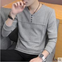 Men Korean Fashion  Four Button Slim Long Sleeved Shirt
