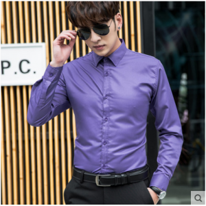 Men Korean Fashion Solid Color Casual  Long Sleeved Business Shirt