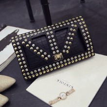 Women Korean Trend  Crocodile Pattern Clutch and Shoulder Bag