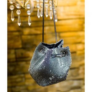 Women Korean Fashion  Rhinestone Small Bucket Chain Party Bag