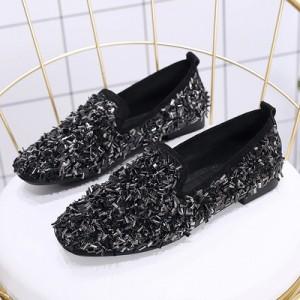 Women Korean Fashion  Wild Style Rhinestone Fairy Scoop Peas Shoes