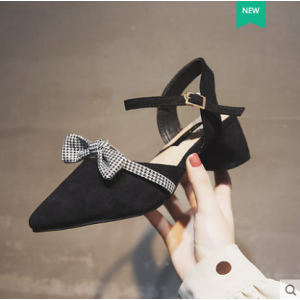 Women Korean Wild Pointed Fairy Style Thick Heel Suede Shoes
