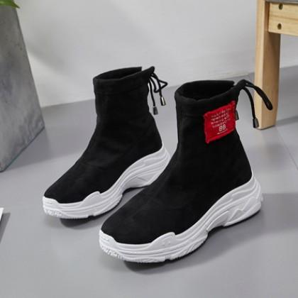 Women Korean Wild Style Trendy Socks Shoes Thick Bottom Martin Boots