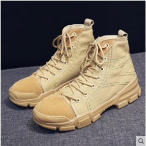 Women Korean Wild Style Trendy Hi Cut Lace Up Suede Martin Boots