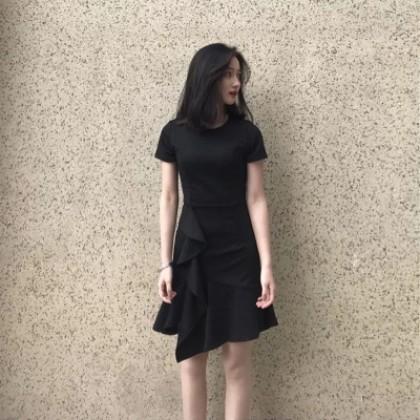 Women Korean Fashion  Wind Waist Lotus Leaf Fishtail Dress