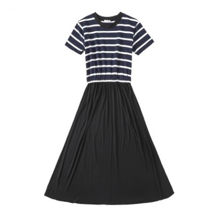 Women Korean Fashion Long Skirt Striped Top Casual Dress