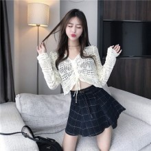 Women Korean Fashion Sexy Style Short Knit Cardigan Long Sleeved Sweater