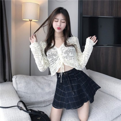 Women Korean Fashion Sexy Style Short Knit Cardigan Long Sleeved Sweater