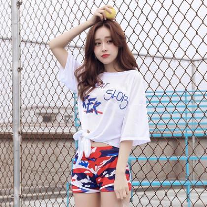 Women New Trend Camouflage Boxer 3 Piece Sporty Fashion Swimwear