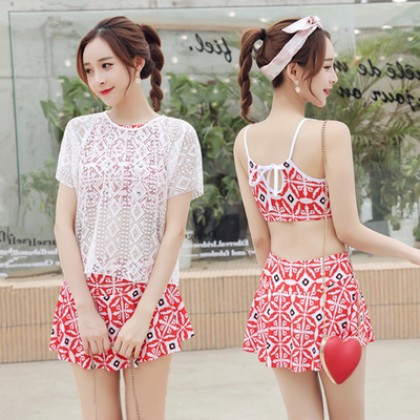Women New Trend Conservative Skirt Type Boxer 3 Piece Fashion Swimwear