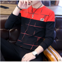 Men Korean Fashion Color Matching Embroidered Long Sleeved  Sweater
