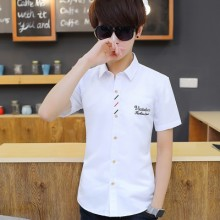 Men Korean Fashion  Summer Short Sleeved Plain Square Collar Shirt