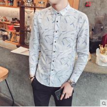 Men Korean Fashion Rice Ear Printed Casual Long Sleeved Shirt