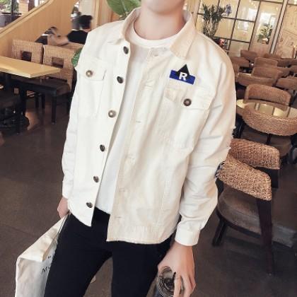 Men Korean Fashion Wild Style Casual Denim Tooling Jacket