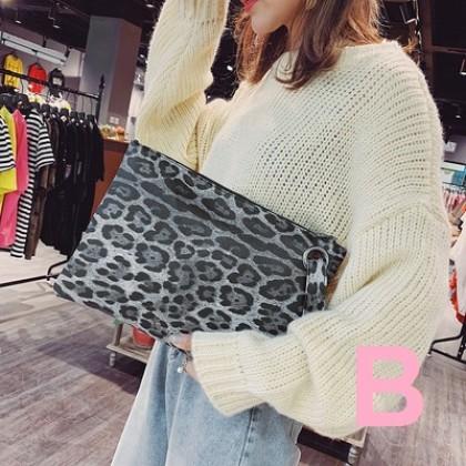 Women Fashion New Wild Style Animal Print Envelope Handbag