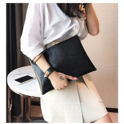 Women Korean Fashion  Casual Leather Small Ring Clutch Handbag