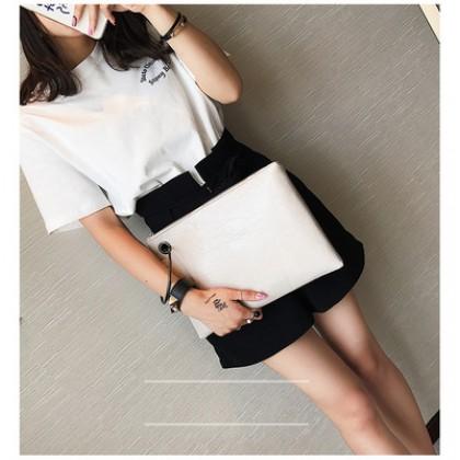 Women Korean Fashion  Casual Leather Small Ring Clutch Handbag