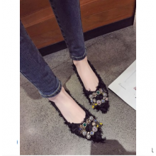 Women Korean Wild Style Buckle Diamond Rhinestone Pointed Flat Shoes