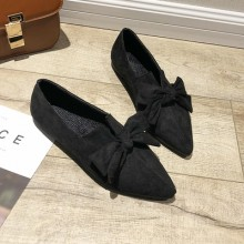 Women Korean Wild Style Casual Suede New Bow Flat Pointed Shoes