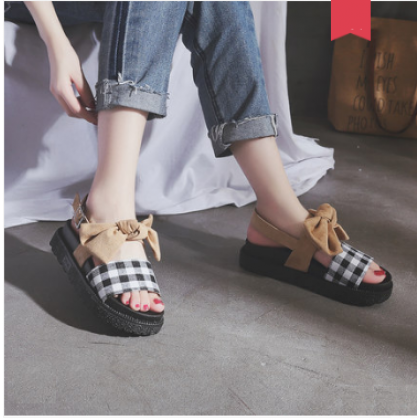 Women Korean Wild Chic Style Fairy Checkered MUffin Bottom Sandals