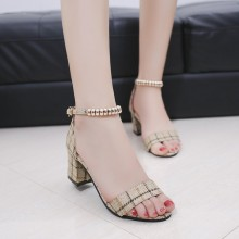 Women Wild Buckle Chic Open Toe Thick Heel Casual Sandals